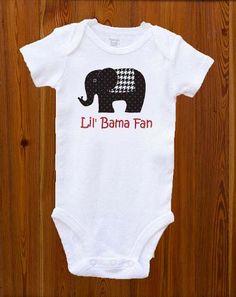 "University of Alabama Onesie ""Lil' Bama Fan"" - size NB-12M available Roll Tide FrEE SHiPPING. $16.00, via Etsy."