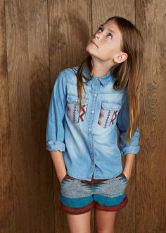 MANGO KIDS - Ethnic denim shirt #FW14