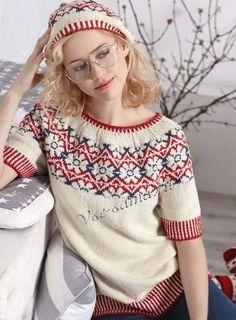 Пуловер с жаккардовыми цветами и берет, фото