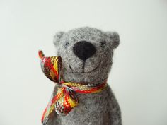 Needle Felted Grey Bear brooch Valentine's Day gift by MishaShop, $21.00