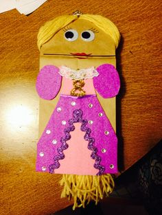School project: paper bag Princess puppet