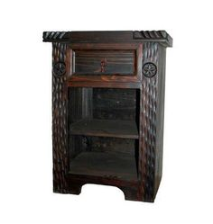 Rustic Dark Night Stand *Real Wood * Free Shipping * Rope Detail * Western *