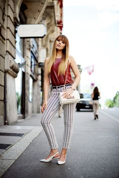 leather top with striped pants