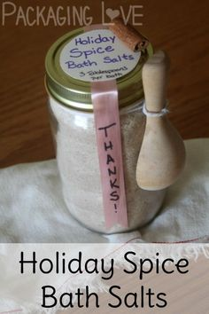 Holiday spice bath salts make for a simple and delightful gift to leave behind after spending the night as a guest in someone's home.