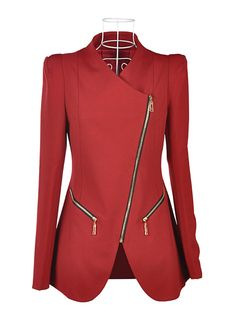 Fashion Zipper Blazer Red.  Not crazy about the metal zippers but good design ideas.