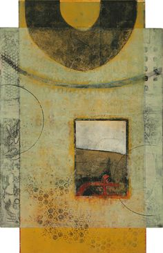 """Cohesive Diversity, by Anne Moore, monotype with collage, 20""""X13"""""""