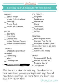 blessing bag checklist printable