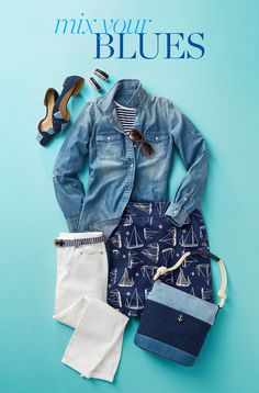 Talbots Tip: Mix your blues this season. Combining two or more shades of blue makes even the simplest looks stylish—and crave-worthy. | Talbots