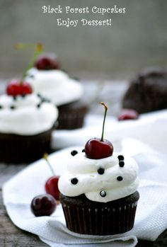 Black Forest Cupcakes, Something Sweet, Muffins, Desserts, Food, Tailgate Desserts, Muffin, Dessert, Postres