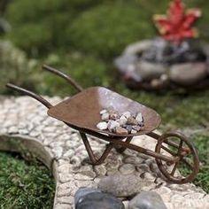 Miniature Rusty Tin Wheelbarrow - Miniatures - View All - Dollhouse Miniatures - Doll Making Supplies - Craft Supplies Miniature Fairy Gardens, Miniature Dolls, Diy Dollhouse, Dollhouse Miniatures, Fairy Tree Houses, Mini Fairy Garden, Fairy Garden Accessories, Mini Things, Little Doll