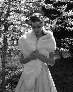 Romantic winter bride! Bridal faux fur by Blanche in the Brambles. Dress by Stephanie Allin. Headdress by Hermione Harbutt
