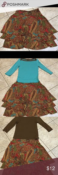 Ralph Lauren multi-color skirt Reds, Browns, greens, and golds make this beautifully designed Ralph Lauren skirt irresistible. ❤️👗👠😊 Pics 2 & 3 show tops it was worn with. Sold separately. Ralph Lauren Skirts