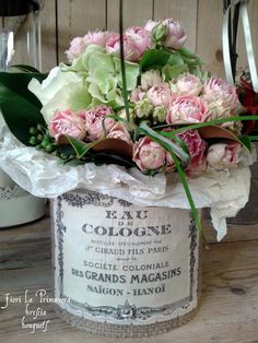 The Graphics Fairy - Crafts: Lovely French Flower Containers in a paint can would be great!