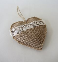 Natural burlap and lace love heart ornament with jute hanging loop - for rustic country living home decor. via Etsy. Burlap Ornaments, Burlap Crafts, Ribbon Crafts, Handmade Ornaments, Christmas Crafts, Christmas Ornaments, Christmas Gifts To Make, Burlap Christmas, Country Christmas