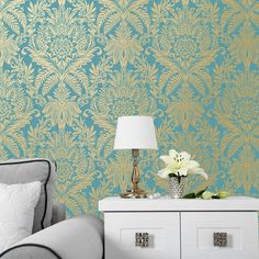 This Crown Signature Damask Wallpaper in teal and gold has a metallic pattern on a matte background for a modern twist. Free UK delivery available Damask Wallpaper, Green Wallpaper, Paper Wallpaper, Wallpaper Roll, Glitter Wallpaper, Wallpaper Ideas, Stunning Wallpapers, High Quality Wallpapers, The Ranch