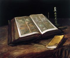 Van Gogh painted this still life of his father's bible, in a single day, after his fathers death in 1885. Their disagreements were known to have involved religion once Vincent had become disillusioned with it in his 20's. The tiny book on the table in front of the bible is a work of Emile Zola's, whom he felt gave clarity to many of the social and economic issues that concerned him. ...This work seems still in one moment-yet also seems to surge with conflicts between love, loss, and…