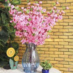 50x Artificial 26  Spring Peach Blossom Cherry Plum Silk Flowers Decor Pink