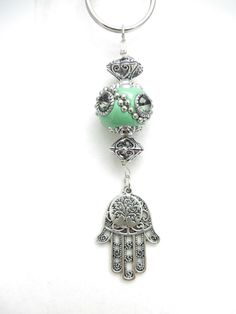 Hamsa Tree Of Life Keychain Yoga Accessories Green Bag Charm Namaste Beaded Keychaine Bag Accessories Unique Mother's Day Gift For Her on Etsy, $18.06 CAD
