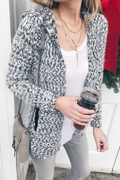 casual winter fashion trends 2018 - eyelash cardigan over gray skinny jeans on pinterestingplans