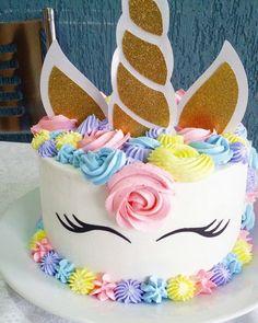 Festa do Unicórnio +de 200 Ideias para Sua Festa! Unicorn Themed Birthday Party, Birthday Party Decorations, Birthday Cake, Easy Unicorn Cake, Unicorn Cake Design, Chocolate Hazelnut Cake, Party Cakes, Cake Designs, Cupcake Cakes