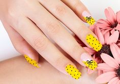 26 Adorable Bow Nail Art Designs and step-by-step tutorial: Yellow Nails Black Polka Dots Bows Nail Art Design
