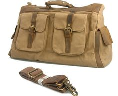 (81.60$)  Watch here  - 2017 New Oversized Canvas Cow Leather Trim Travel Tote Duffel shoulder handbag Weekend Vintage Military Army Green Men Bags