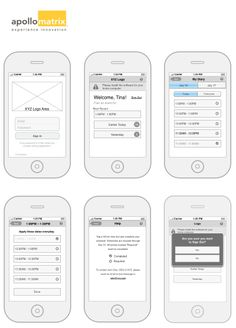 Apollo Matrix's #wireframe process of a survey app to act as a diary and record actions at different times throughout the day. #ApolloMatrix #UX