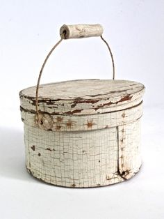 Antique Painted Firkin, 19thC Painted White Lidded Bucket, Old Painted Wooden Bucket, Scandinavian White Bucket by CityGirlAntiques on Etsy https://www.etsy.com/listing/460291190/antique-painted-firkin-19thc-painted