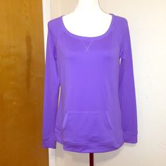 Purple Jogging Top Brand: Tek Gear   Size: Small but can fit medium.   Purple with long sleeves, pocket in front. 92% Polyester 8% Spandex   Worn once or twice. Tops