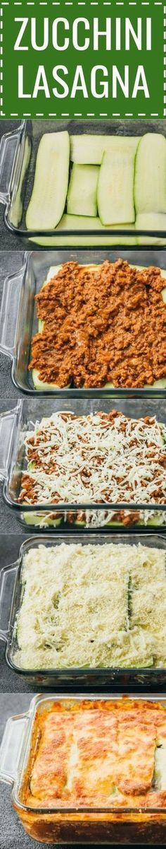 This easy zucchini lasagna is a great low carb and healthy alternative to your typical lasagna. keto / low carb / diet / atkins / meals / recipes / easy / dinner / lunch / foods / healthy / gluten free / easy / recipe / healthy / with meat / noodles / bes