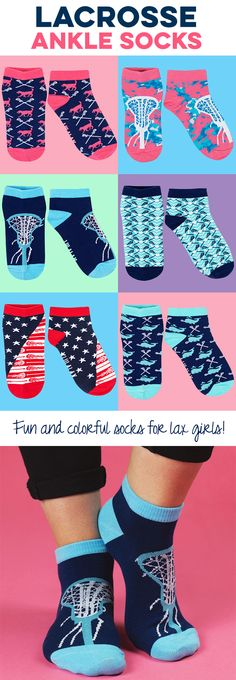 NEW and exclusively from LuLaLax...woven ankle socks for lax girls! Available in so many fun designs and colors. Choose your favorite pair or even a set of 3 for an awesome gift for any lax girl, parent, or fan!