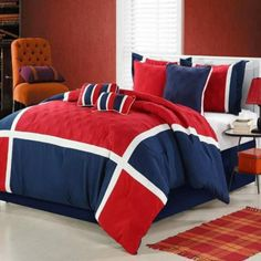 Quincy Red Comforter Set by Luxury Bedding Co. - Sets - Out of Stock but be sure to check out our other luxury bedding! Red Comforter Sets, Elegant Comforter Sets, Duvet Bedding, King Comforter, Blue Home Decor, Elegant Home Decor, Elegant Homes, Log Home Designs, Rustic Home Design