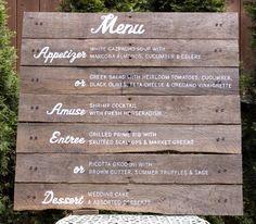 handpainted wood #wedding menu