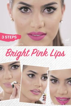 To create bright pink lips, first, put a base on the lips, use a lip brush to outline, and then fill with lipstick.