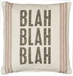 "Rustic ""Blah Blah"" Linen Accent Pillow"