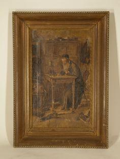 Lot 060 S60 - Judaica Painting of Scholar - Est. $100-200 - Antique Reader