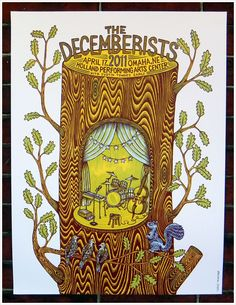 art, illustration, animal, squirrel, bird, tree, pattern, design, naive, band, music, stage, cut away, typography. //  The Decemberists
