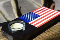 United States Flag Tea Light Candle Holder Home by millcreekcrafts