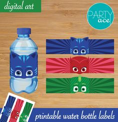 PJ Masks Birthday Party Printable Water Bottle Labels printables printables for adults worksheet kindergarten birthday printable birthday printable cards Pjmask Party, Birthday Party Snacks, 4th Birthday Parties, Boy Birthday, Hedgehog Birthday, Nerf Party, Pj Mask Party Decorations, Pj Masks Party Favors, History Of Birthdays