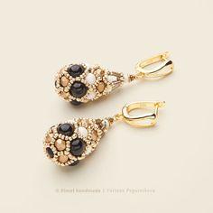 Купить «Ivory Black Faberge» серьги. Жемчуг Swarovski, японский бисер - серьги золотые