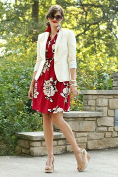 Cream and Crimson.  Dress by Anthropologie, Blazer by Zara.  Styling by Jessica Quirk of What I Wore