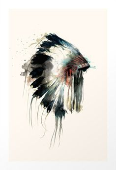 Ceremonial Headdress Art Print #watercolor #print