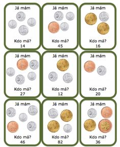 Já mám, kdo má: mince Numbers For Kids, Teaching Tips, Montessori, Finance, Homeschool, Education, Math, Learning, Euro