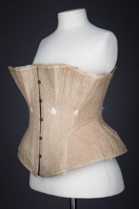 Ecru Cotton Twill Corset With Gores & White Flossing Embroidery, c. The Underpinnings Museum. Photography by Tigz Rice. Museum Collection, Corsets, Museum Photography, Underwear, Embroidery, Britain, Cotton, Rice, Tops
