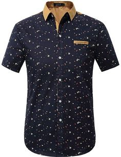 SSLR Men's Printing Pattern Casual Short Sleeve Shirt