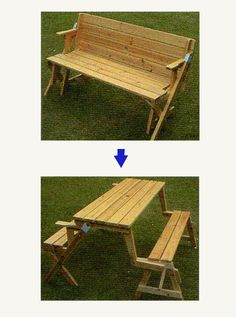 un banc qui se transforme en table de picnic jardin pinterest pique niques meubles et. Black Bedroom Furniture Sets. Home Design Ideas