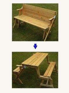 un banc qui se transforme en table de picnic jardin pinterest pique niques meubles et. Black Bedroom Furniture Sets. Home Design Ideas