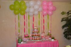 Pretty party backdrop #backdrop #balloons