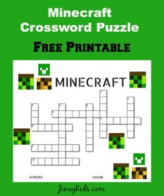 free printable Minecraft Crossword Puzzle.   Thanks to Shindig Prints for supplying us with this …