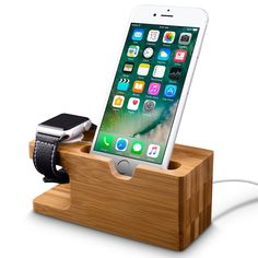 Apple Watch Stand,Fullmosa Wood and Bamboo Charging Stands Bracket Docking Station Stock Cradle Holder for iPhone and Apple Watch Series1 Series 2